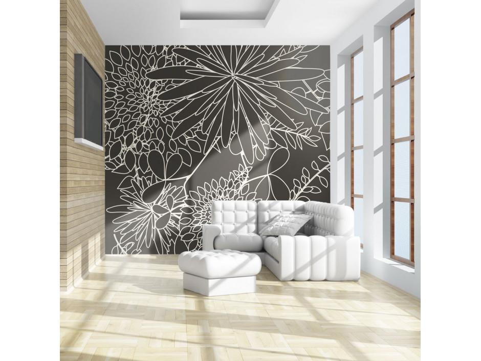 Papier peint - Motif floral noir et blanc