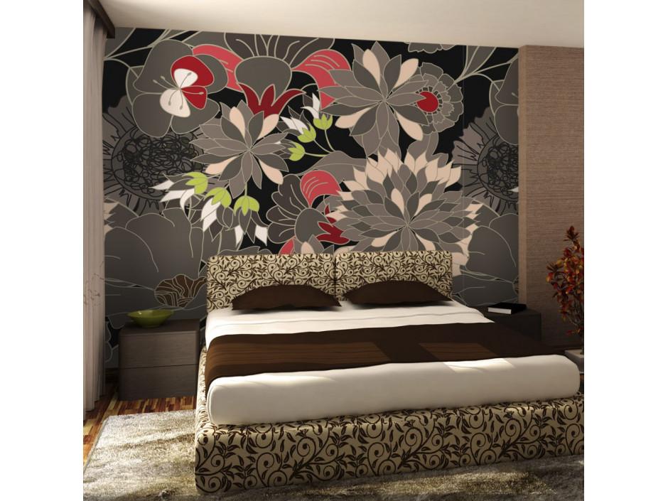 Papier peint - motif floral - gris
