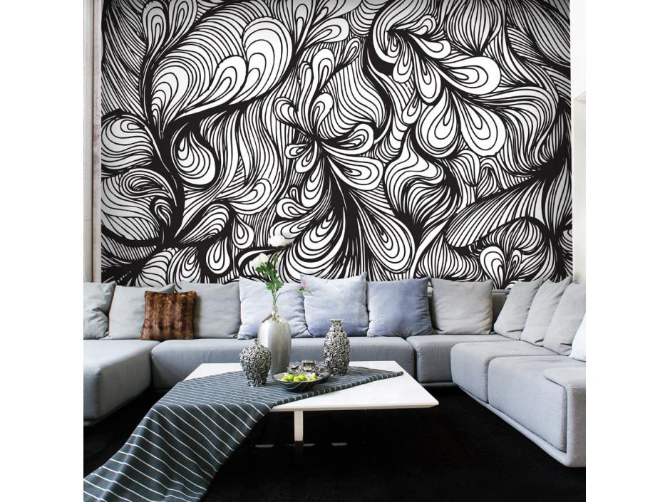 Papier peint - Noir et blanc style rétro