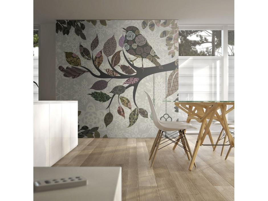 Papier peint - Oiseau sur branche (patchwork)