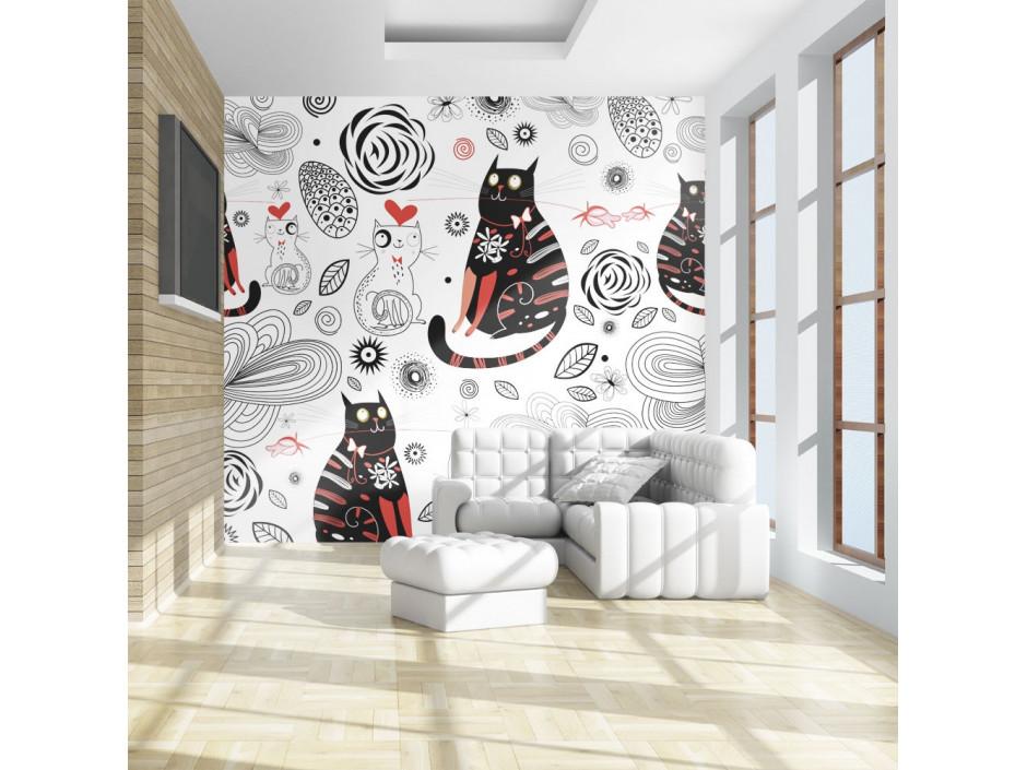 Papier peint  Chats amoureux
