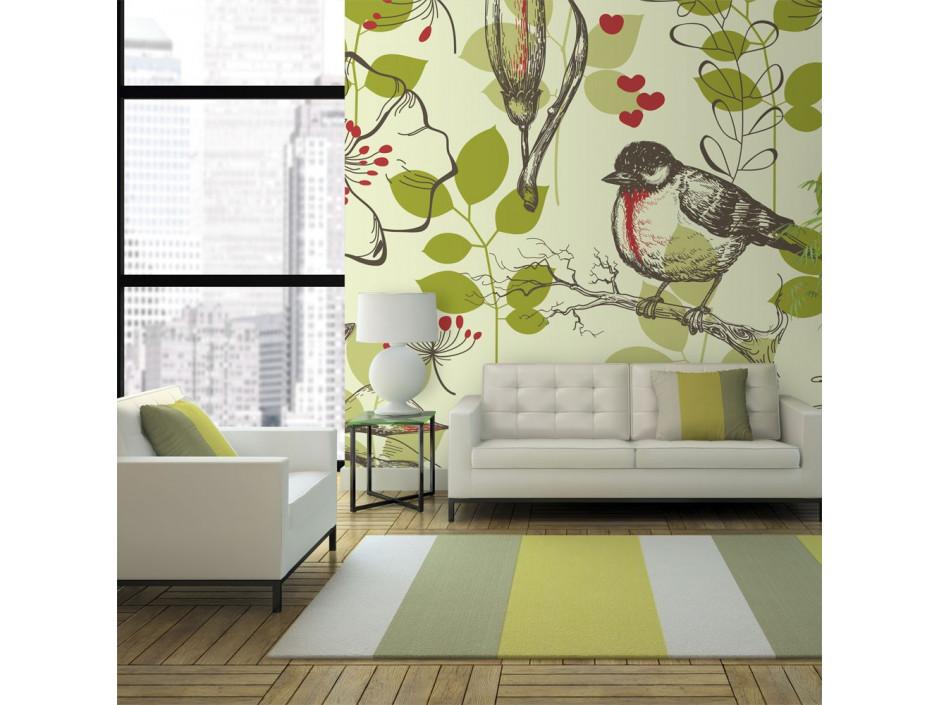 Papier peint - Oiseau et lys vintage