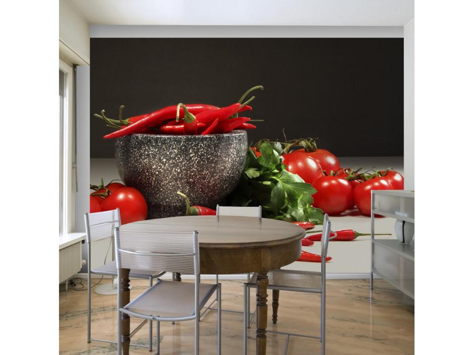 Papier peint  Tomates et piments rouges