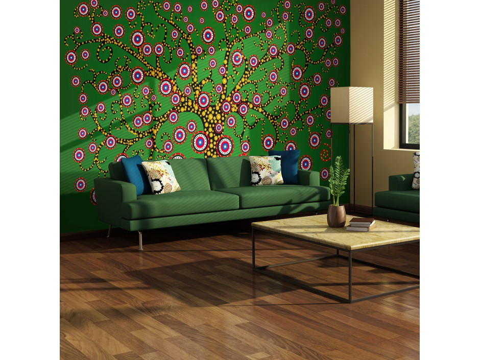 Papier peint  abstraction arbre (vert)