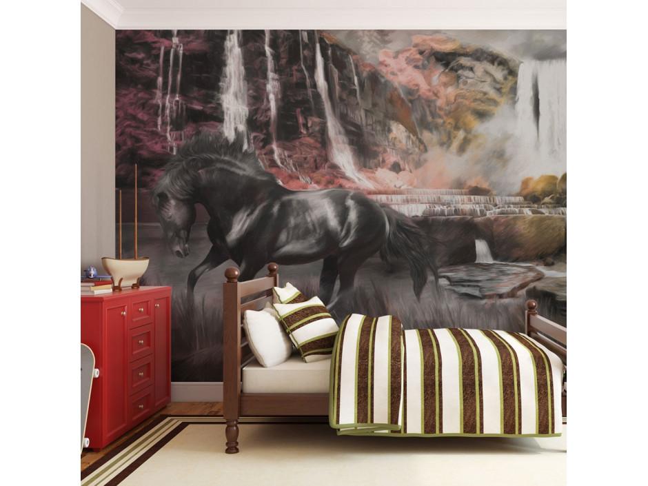 Papier peint  Cheval noir et cascade