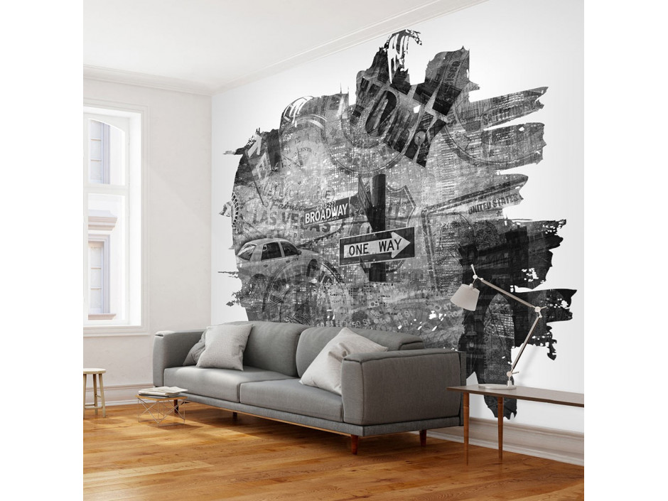 Papier peint - Black-and-white New York collage