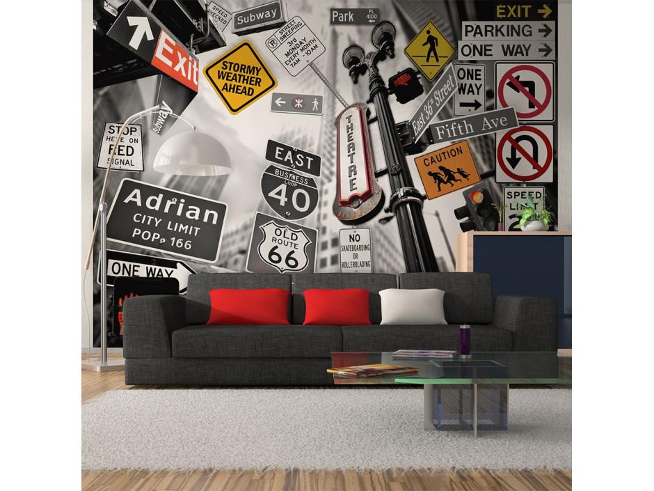 Papier peint - Panneaux de signalisation à New York (fond noir et blanc)