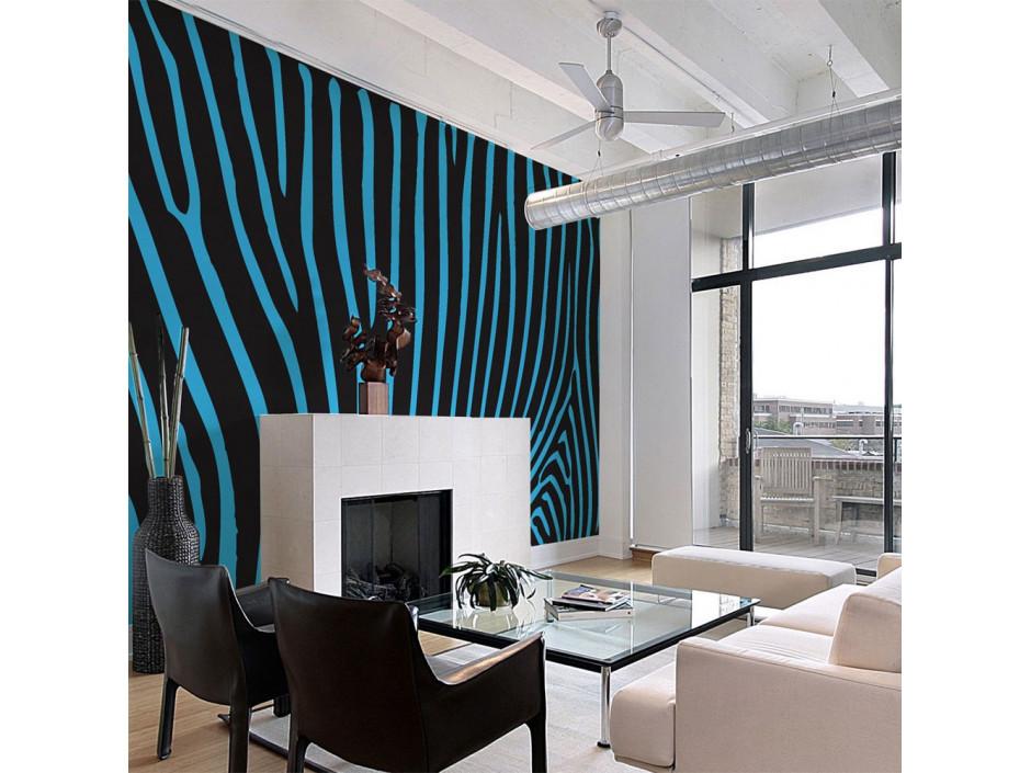 Papier peint - Zebra pattern (turquoise)