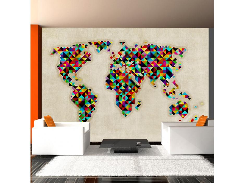 Papier peint  World Map  a kaleidoscope of colors