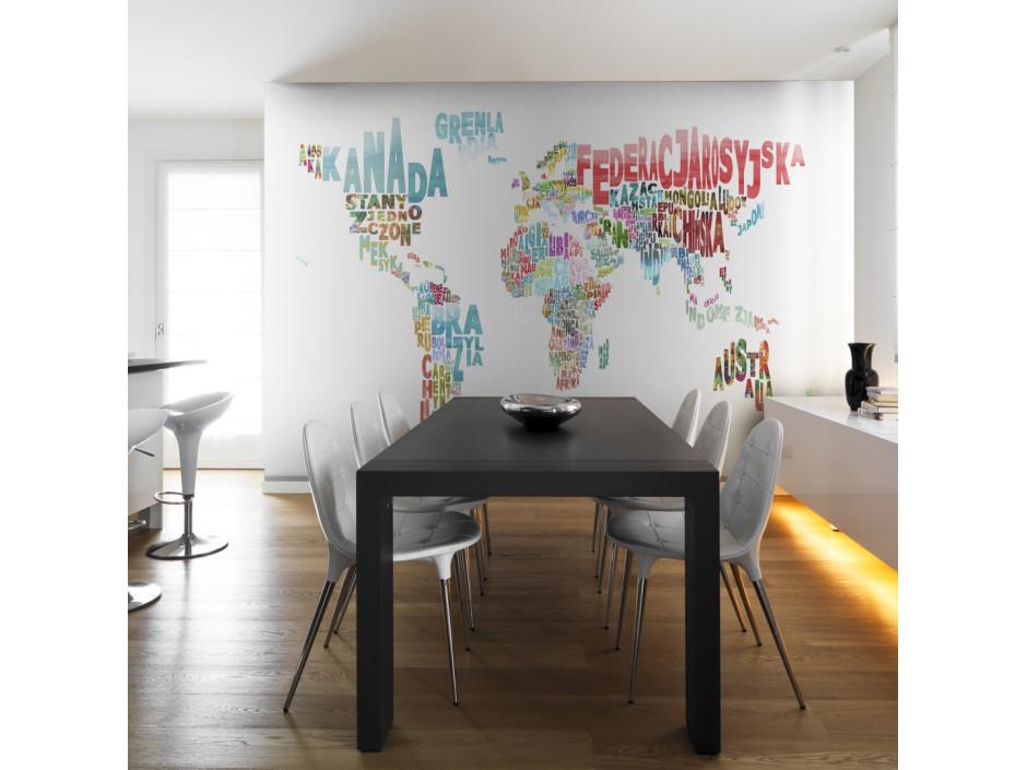 Papier peint  carte  monde (en français)