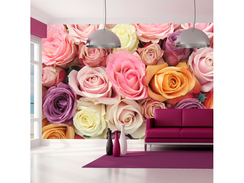Papier peint - Roses pastels