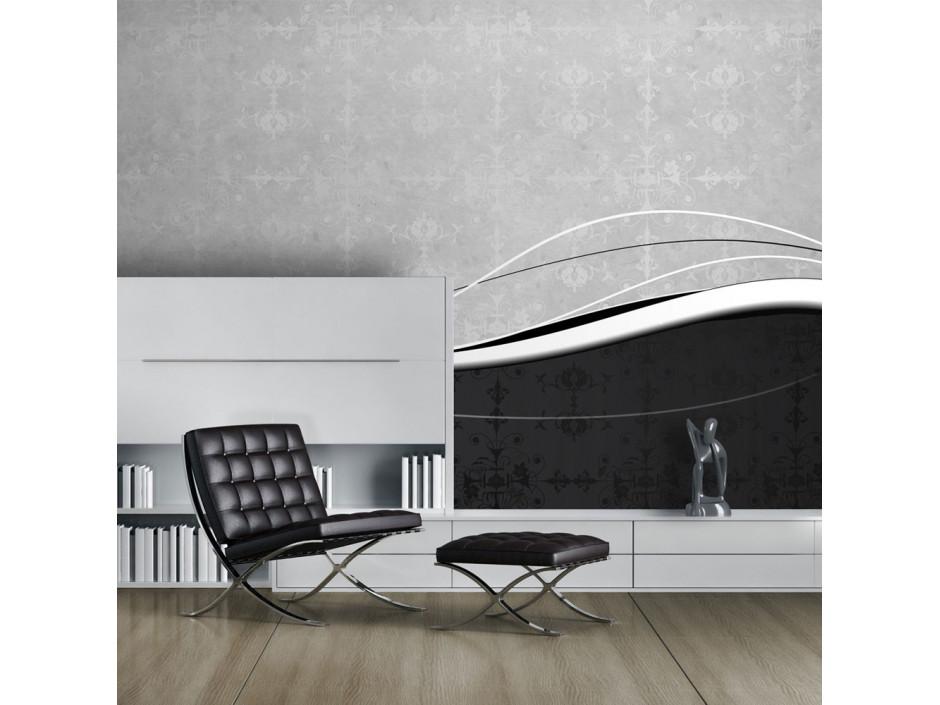 Papier peint  Vagues en noir et blanc (vintage)