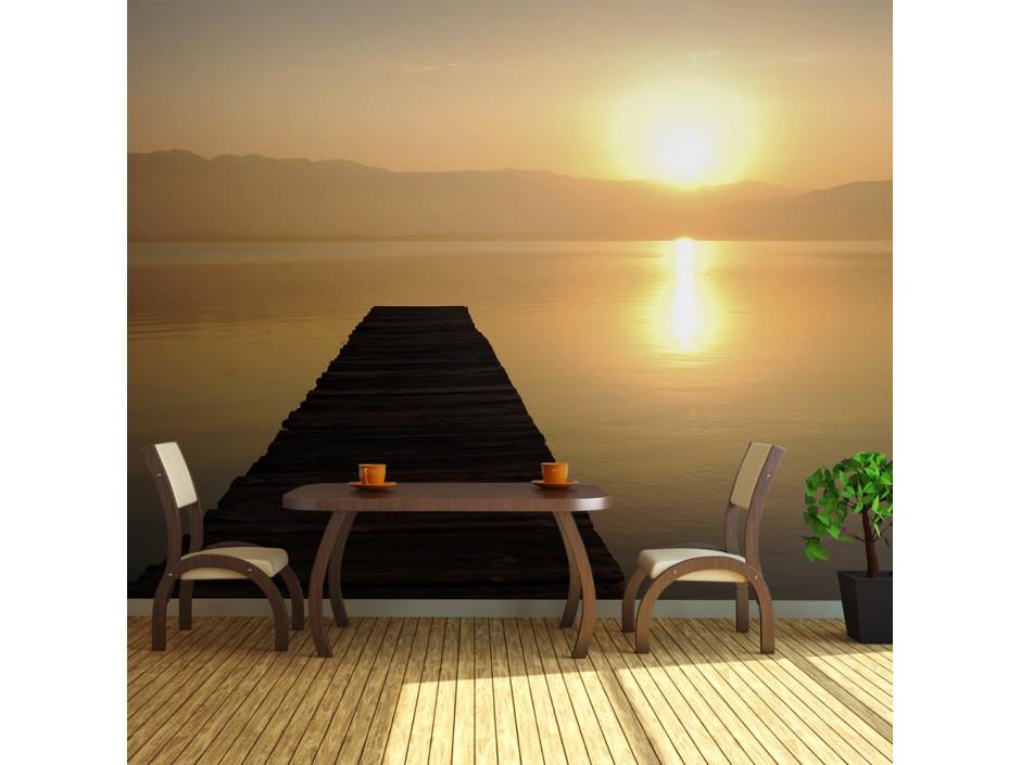 Papier peint XXL  ponton, lac, coucher de soleil...