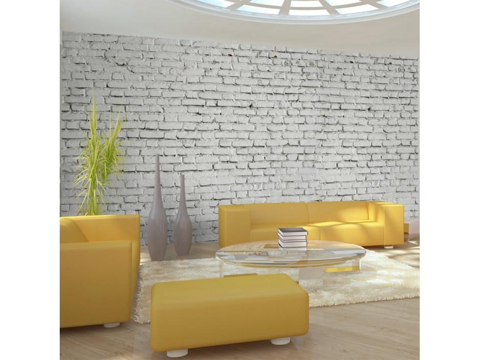 Papier peint XXL  Mur blanc  esprit briques à létat pur