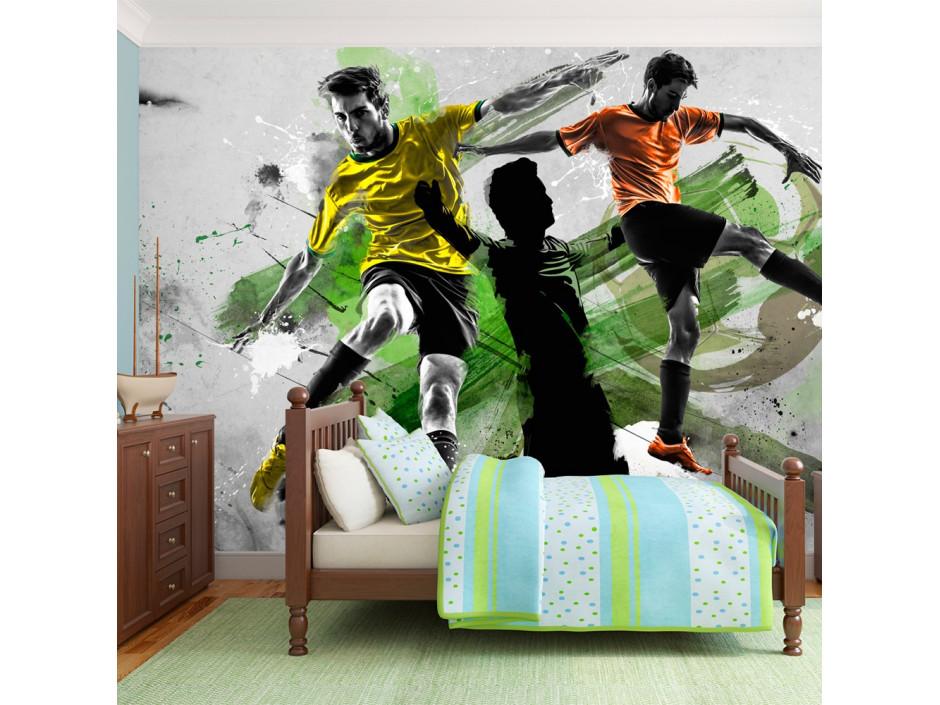 Boys bedroom football wall mural