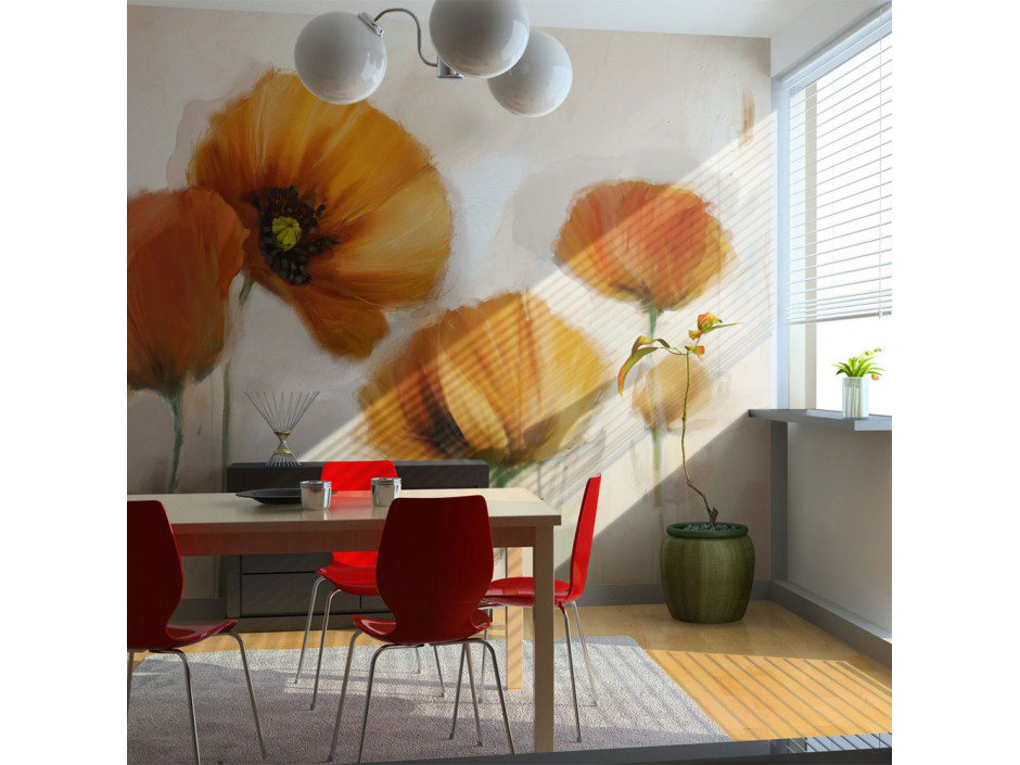 Papier peint  poppies  vintage
