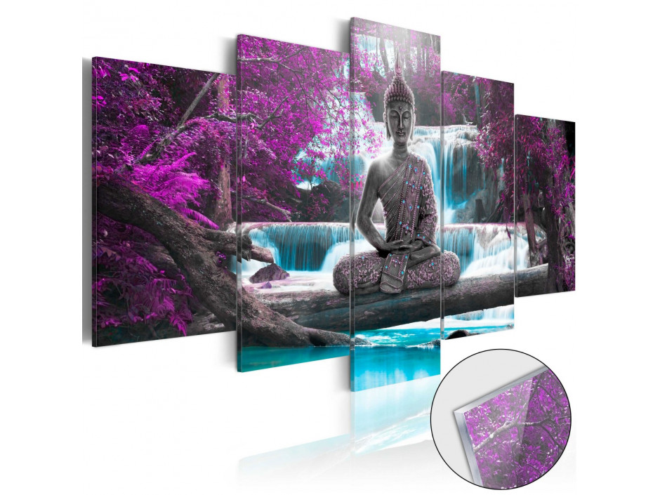 Tableau sur verre acrylique  Waterfall and Buddha [Glass]