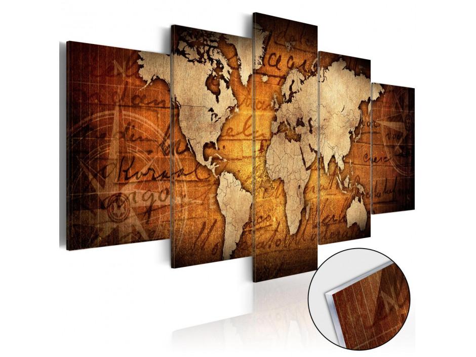 Tableau sur verre acrylique  Acrylic prints – Bronze map I