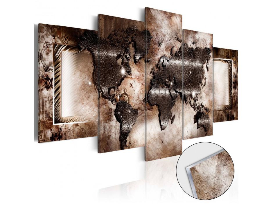 Tableau sur verre acrylique  Platinum Map [Glass]