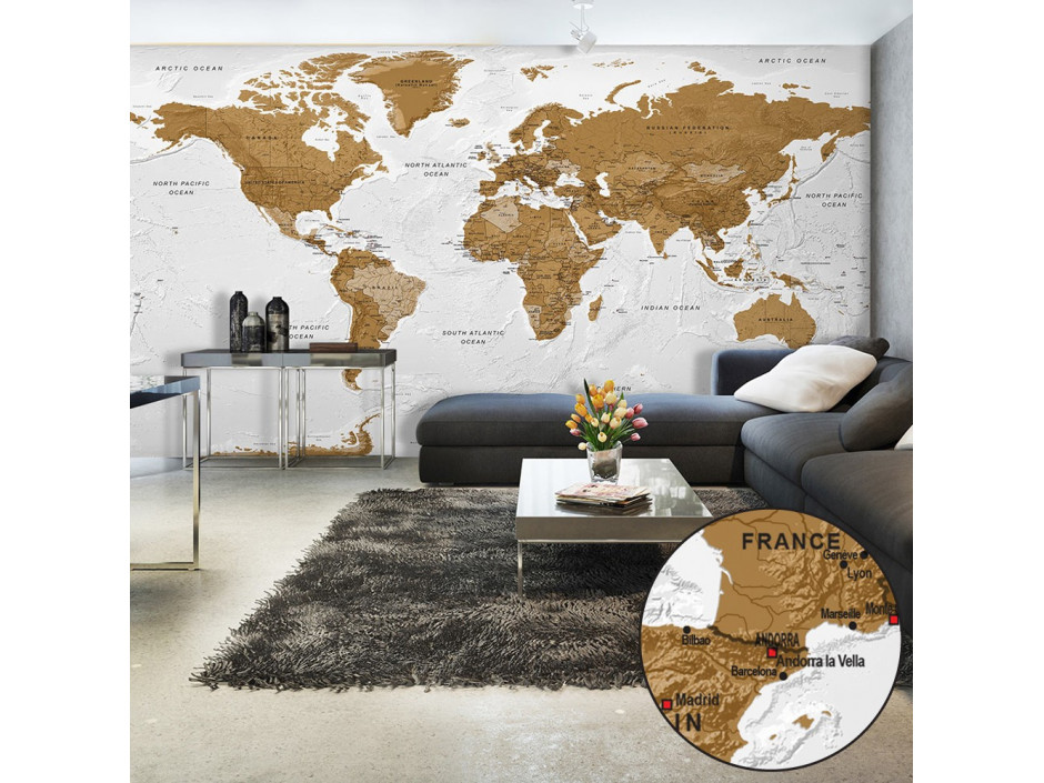 Papier peint XXL  World Map White Oceans II