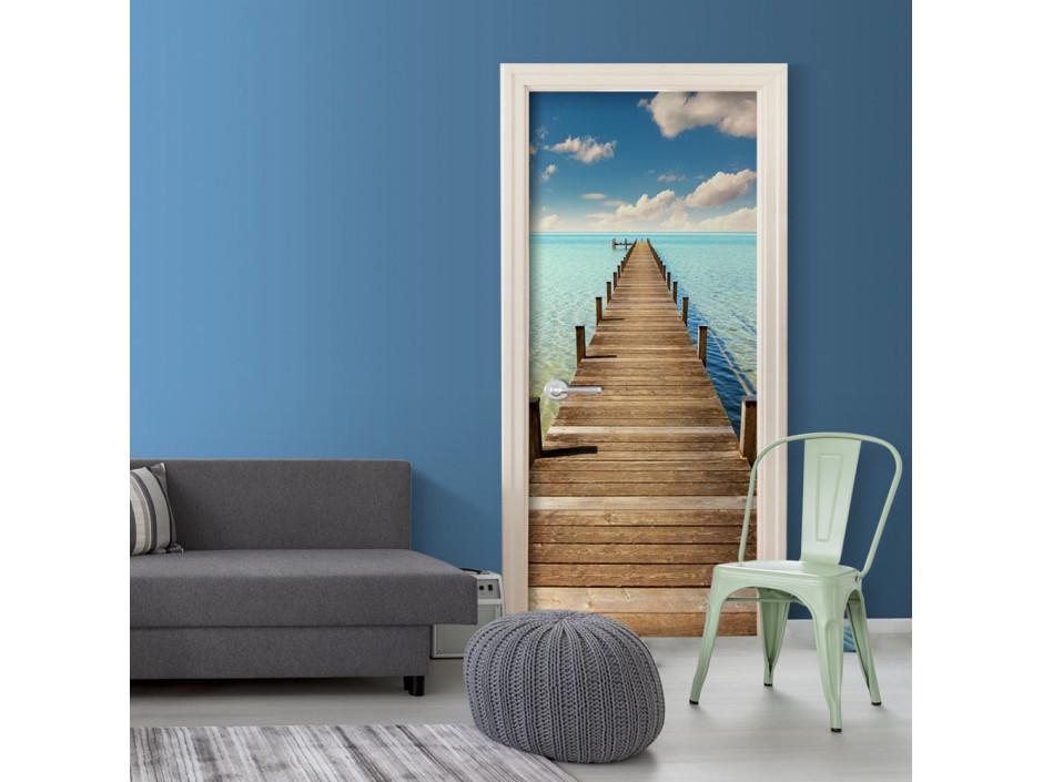 Papier-peint pour porte - Turquoise Harbour