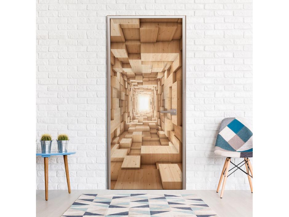 Papierpeint pour porte  Wooden Tunnel