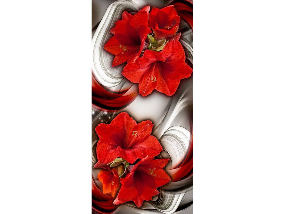 Papierpeint pour porte  Photo wallpaper  Abstraction and red flowers I
