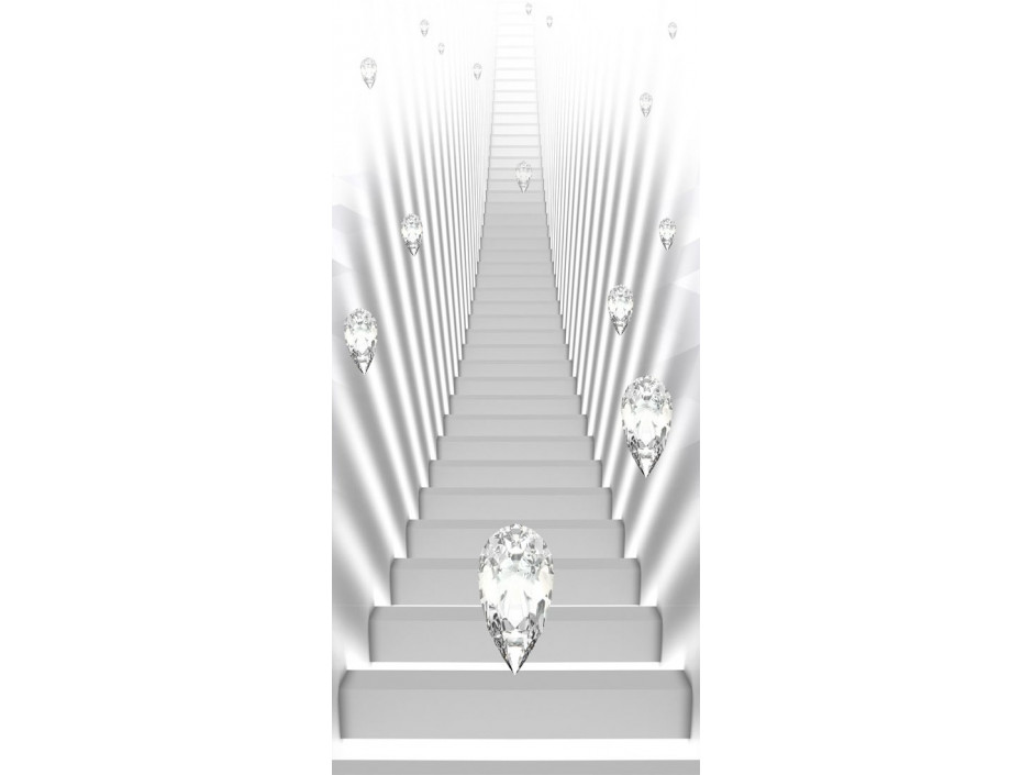 Papierpeint pour porte  Photo wallpaper  White stairs and jewels I