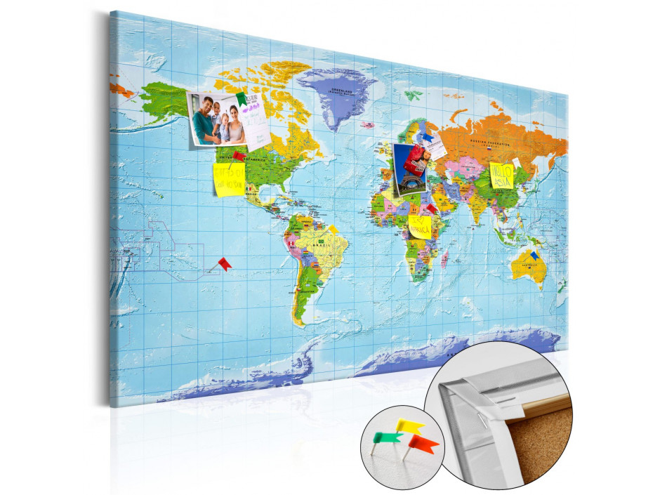 Tableau en liège  World Map Countries Flags [Cork Map]
