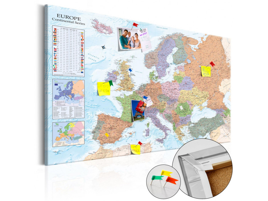 Tableau en liège  World Maps Europe [Cork Map]