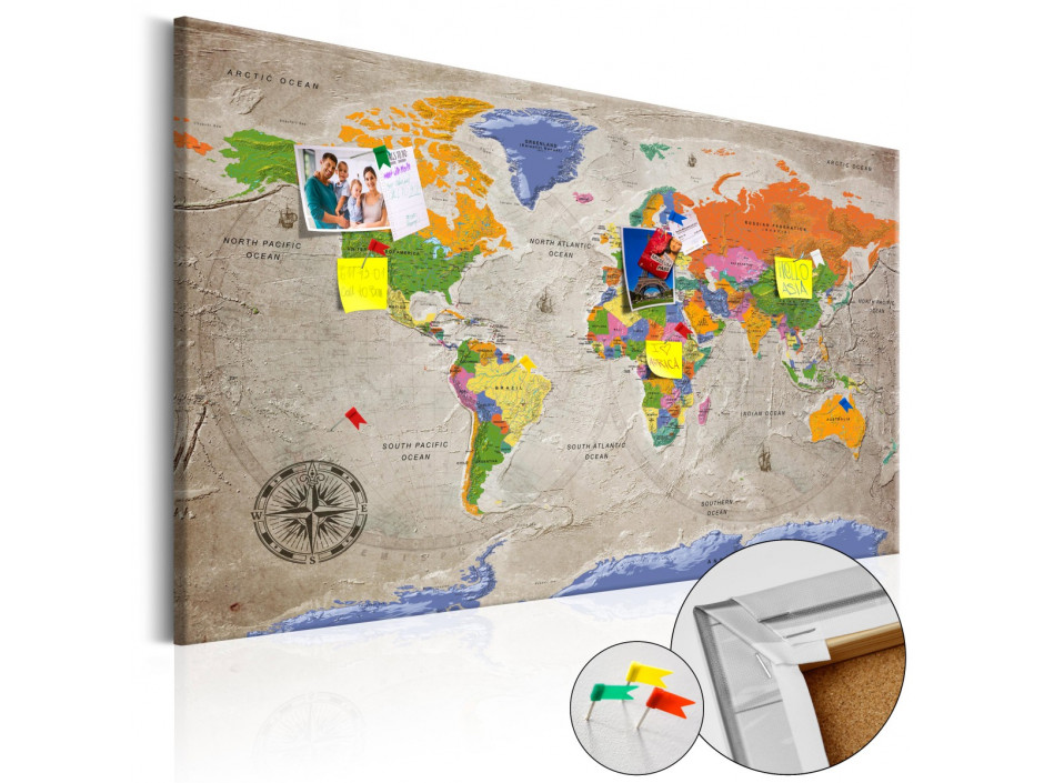 Tableau en liège  World Map Retro Style [Cork Map]