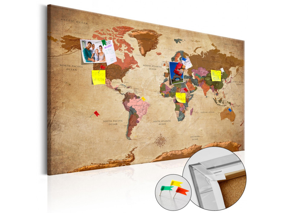 Tableau en liège  World Map Brown Elegance [Cork Map]