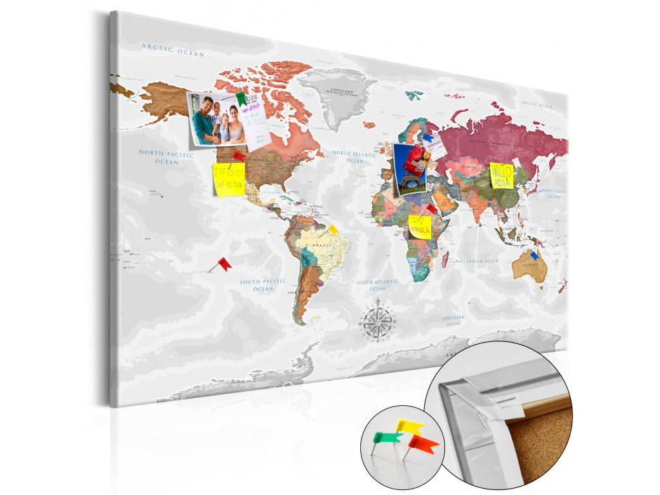 Tableau en liège  Travel Around the World [Cork Map]