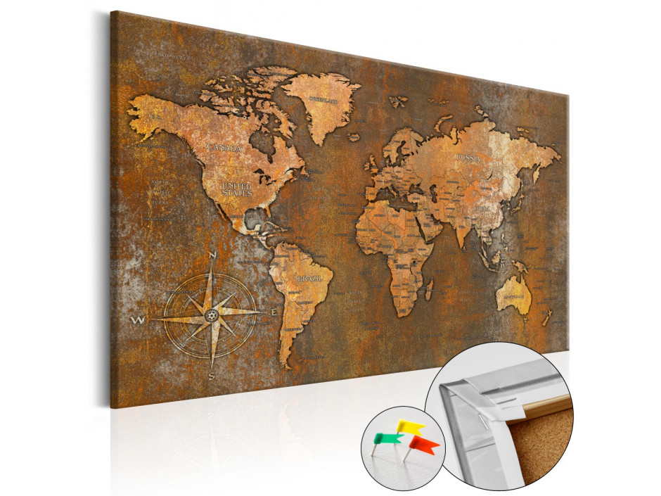 Tableau en liège  Rusty World [Cork Map]
