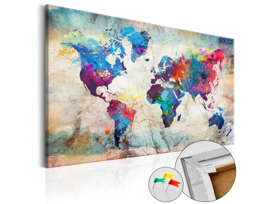 Tableau en liège  World Map Colourful Madness [Cork Map]