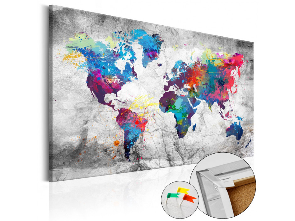 Tableau en liège  World Map Grey Style [Cork Map]