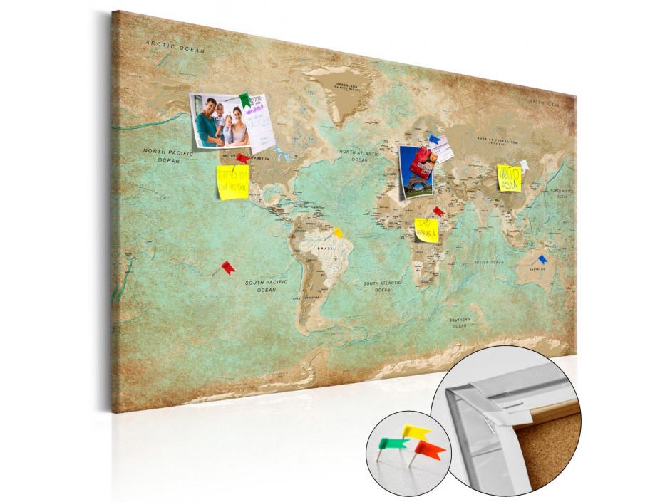 Tableau en liège  Voyage céladon [Cork Map]