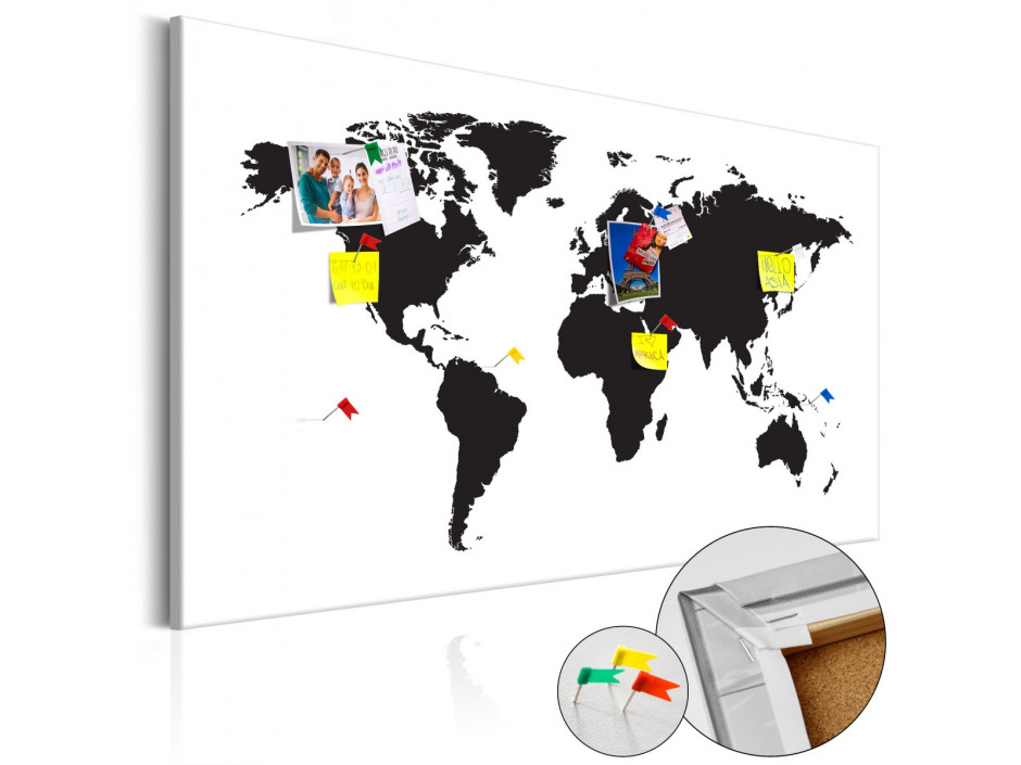 Tableau en liège  World Map Black & White Elegance [Cork Map]