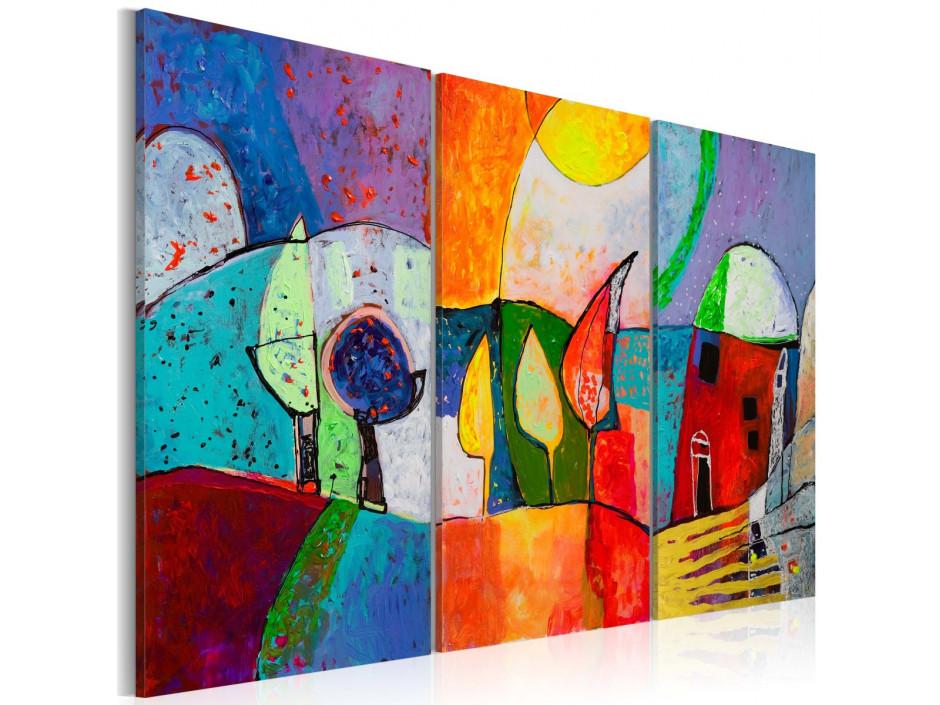 Tableau peint à la main  Paysage multicolore