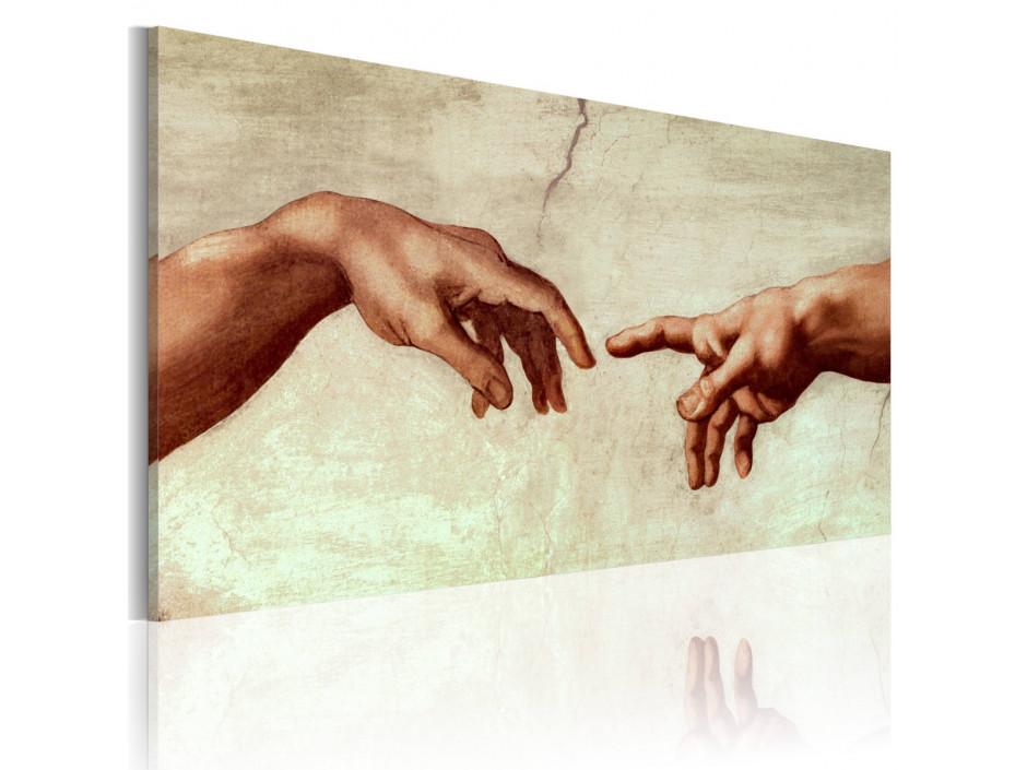 Tableau peint à la main  La création dAdam fragment de peinture