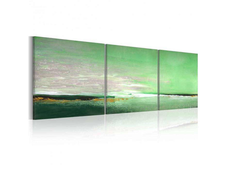 Tableau peint à la main  Côte de la couleur verte