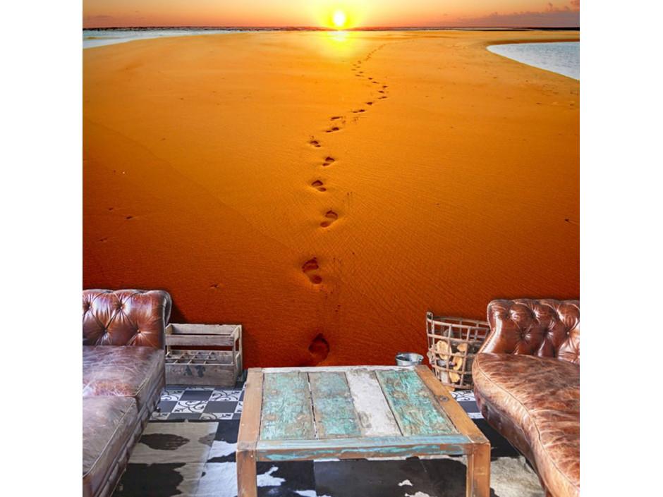 Papier peint  Traces de pas sur le sable