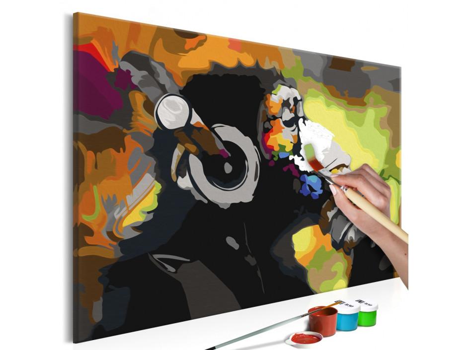 Tableau à peindre par soi-même - Singe coloré avec écouteurs