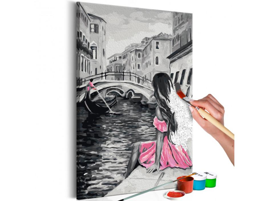 Tableau à peindre par soi-même - Venise (fille habilliée d'une robe rose)