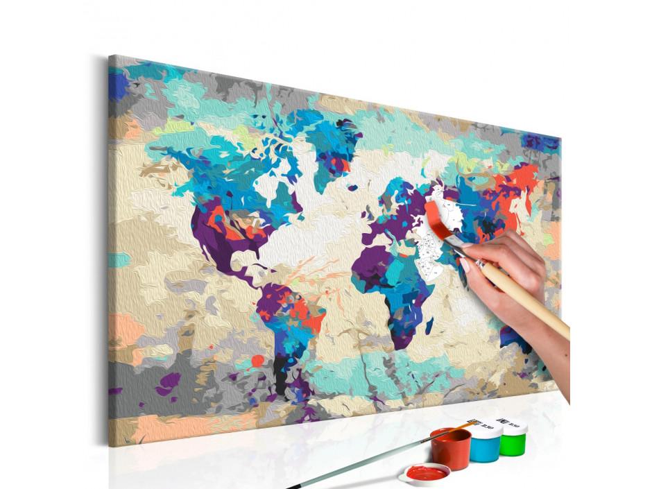 Tableau à peindre par soi-même - Carte du monde (bleu-rouge)