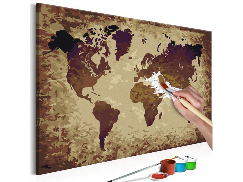 Tableau à peindre par soi-même - Carte du monde (nuances de brun)
