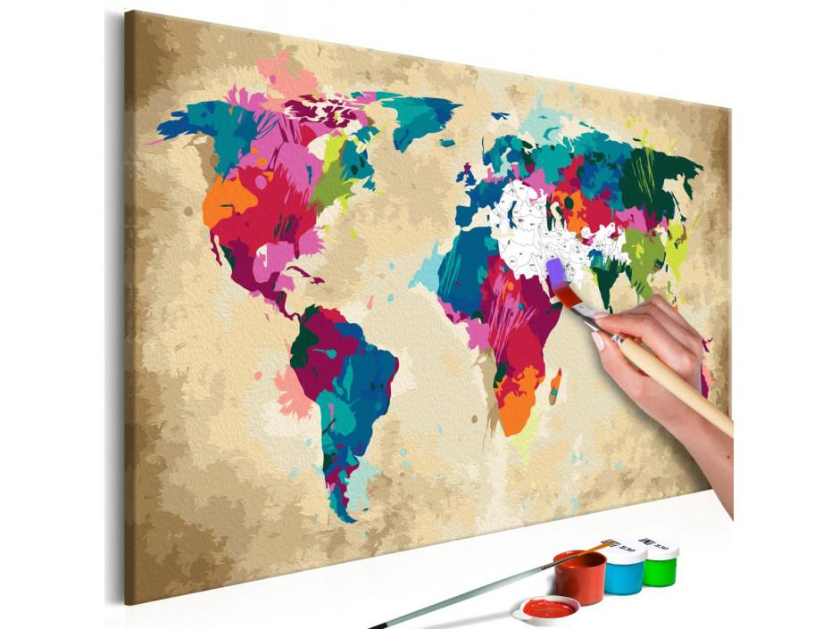 Tableau à peindre par soi-même - Carte du monde (colorée)