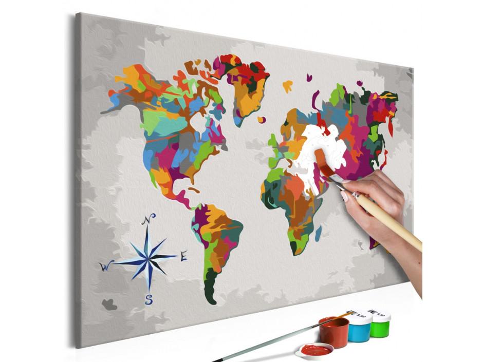 Tableau à peindre par soi-même - Carte du monde (avec rose des vents)