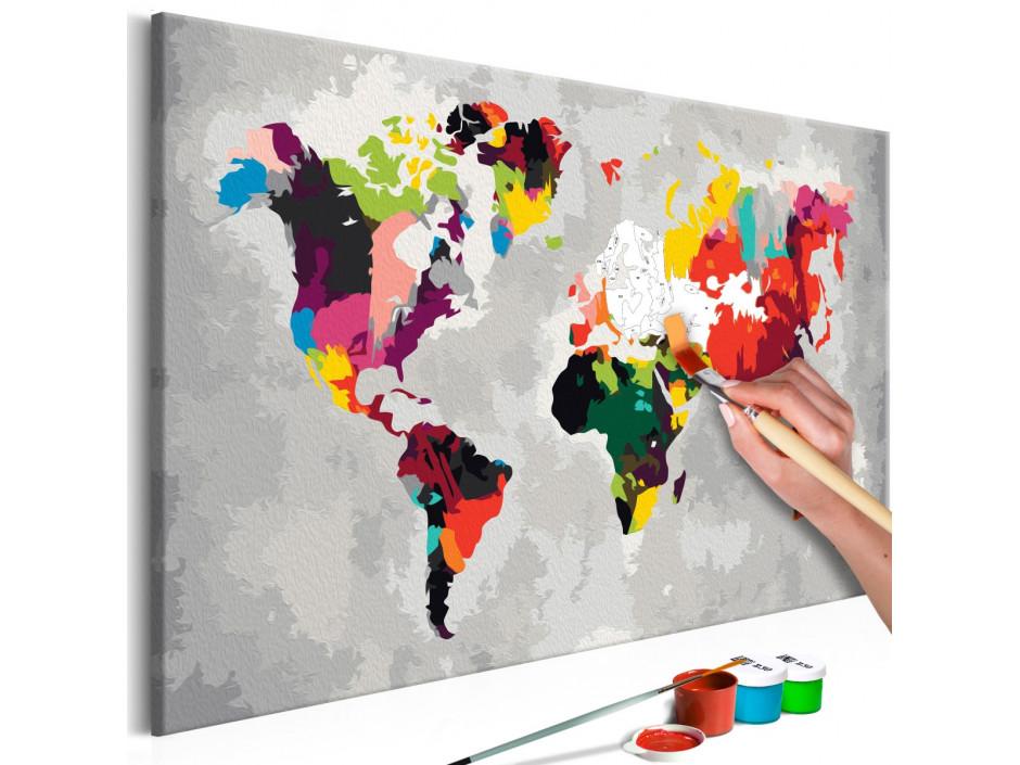 Tableau à peindre par soi-même - Carte du monde (couleurs criardes)