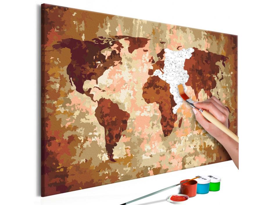 Tableau à peindre par soi-même - Carte du monde (couleurs de la terre)